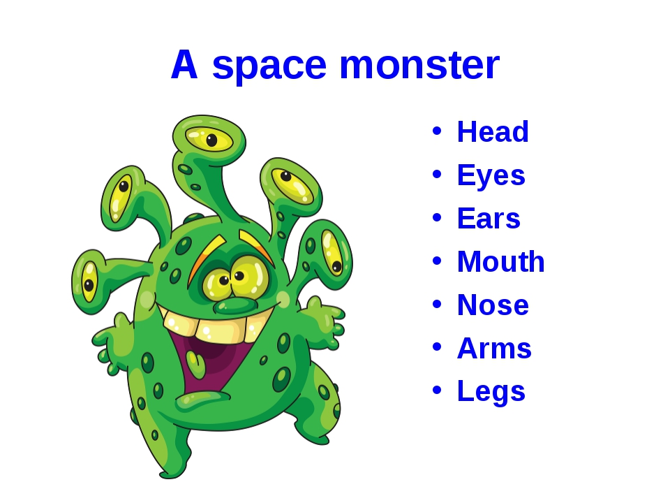 A space monster Head Eyes Ears Mouth Nose Arms Legs