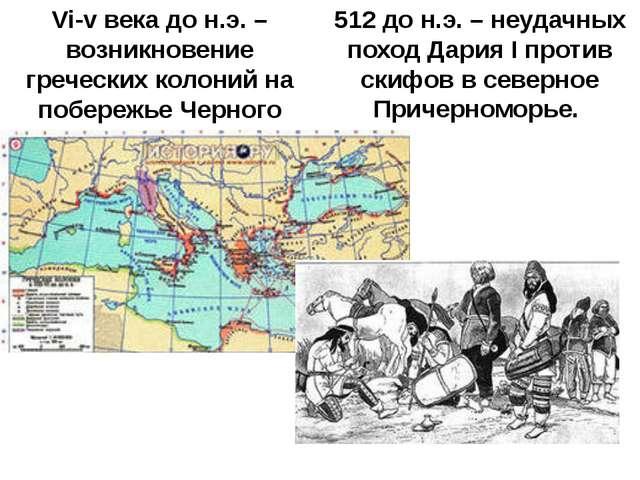 VI—V века до н. э.— Возникновениегреческих колоний на побережье Чёрного м...