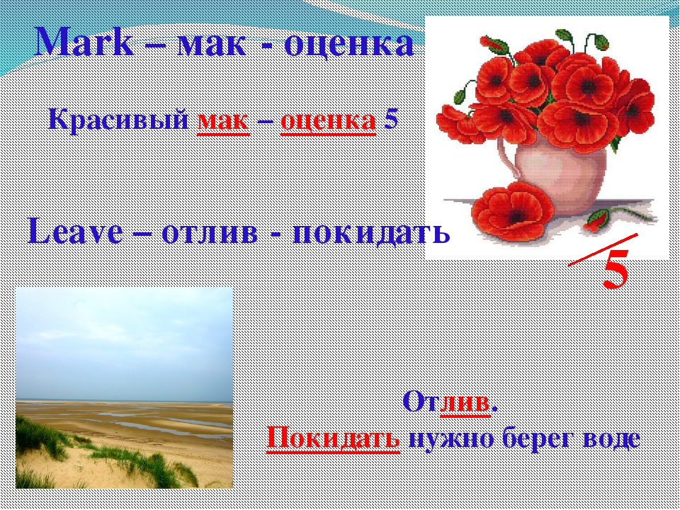 5 Красивый мак – оценка 5 Mark – мак - оценка Leave – отлив - покидать Отлив....