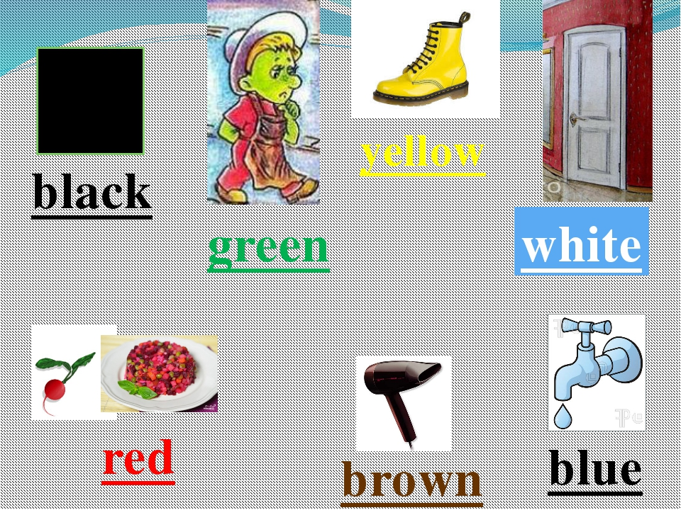 green yellow white blue brown red black