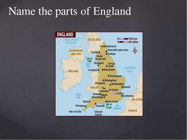 Name the parts of England