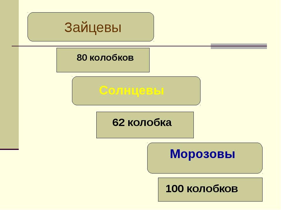 Зайцевы 80 колобков Солнцевы 62 колобка Морозовы 100 колобков