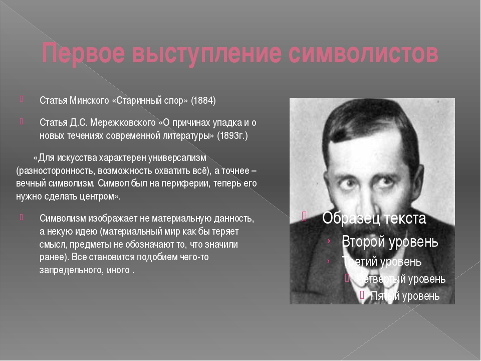 Первое выступление символистов Статья Минского «Старинный спор» (1884) Статья...