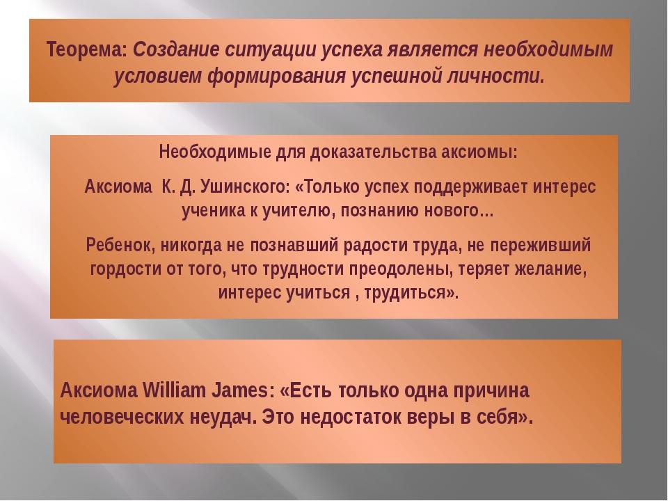 Теорема: Создание ситуации успеха является необходимым условием формирования...