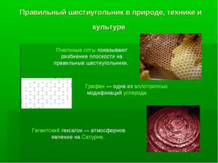 Правильный шестиугольник в природе, технике и культуре Пчелиные соты показыва
