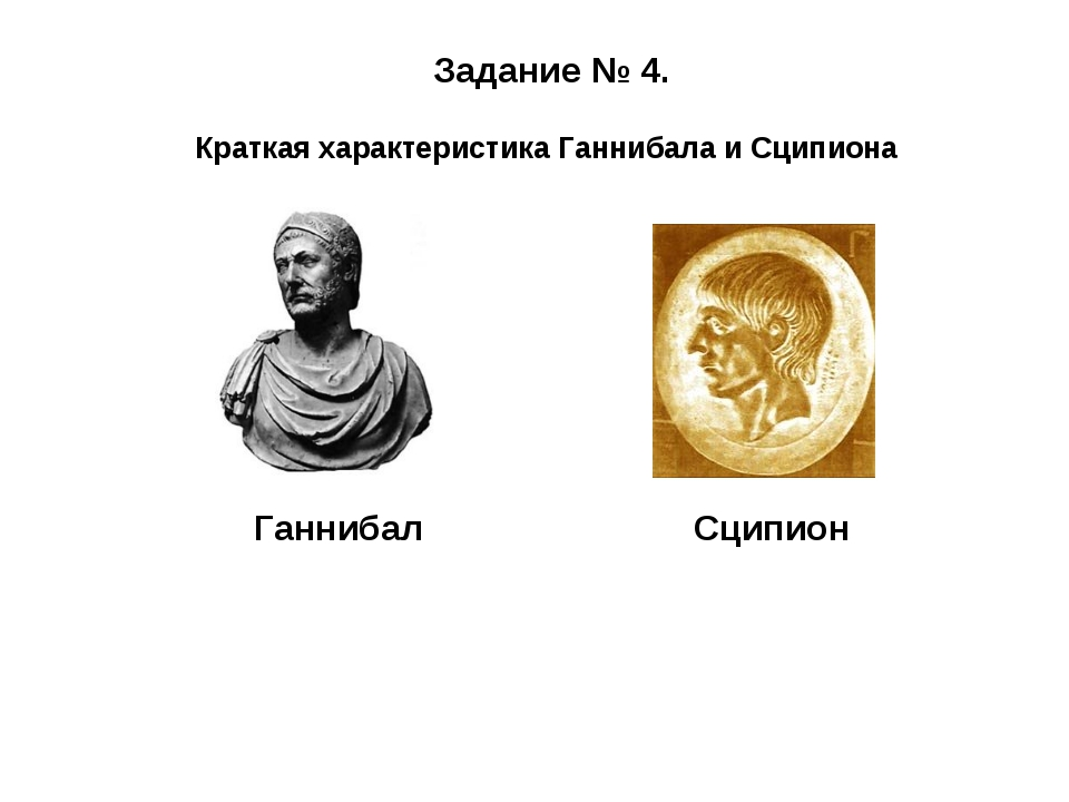Краткая характеристика Ганнибала и Сципиона Задание № 4. ГаннибалСципион