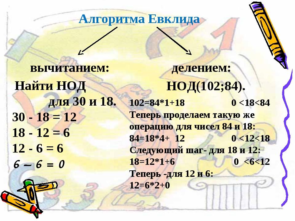 Алгоритма Евклида вычитанием: делением: Найти НОД для 30 и 18. 30 - 18 = 12 1...