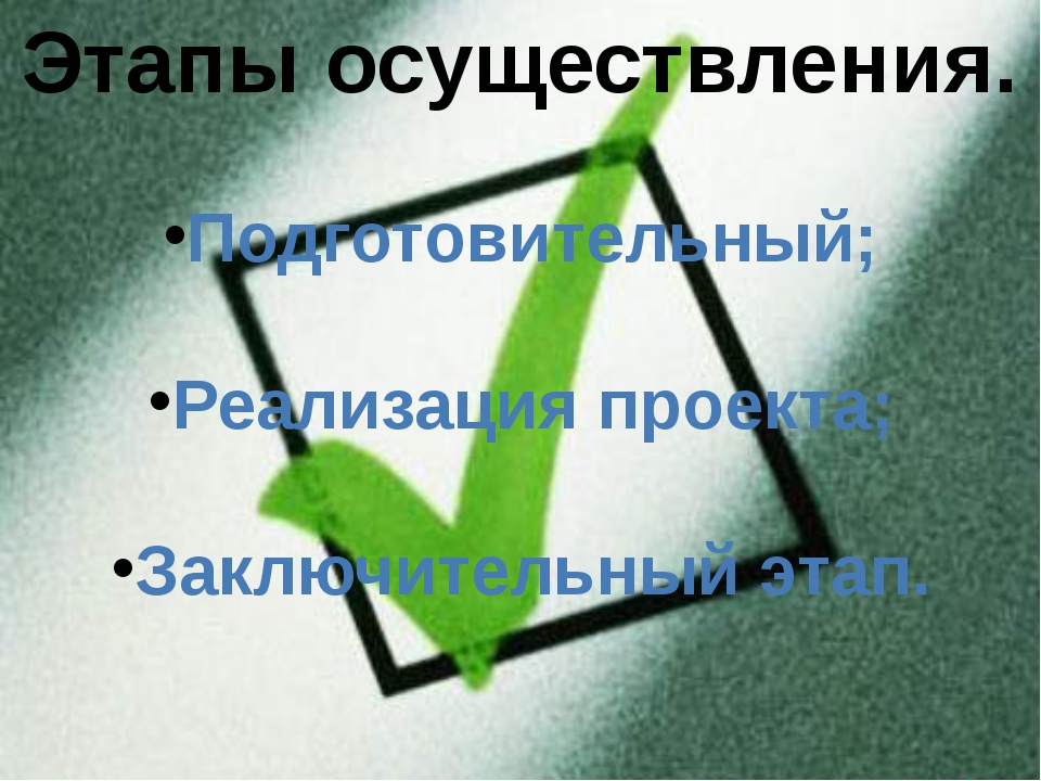 Этапы осуществления. Подготовительный; Реализация проекта; Заключительный этап.