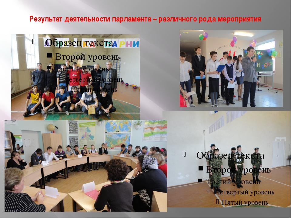 Результат деятельности парламента – различного рода мероприятия