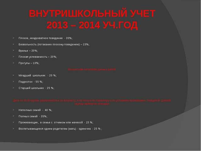 ВНУТРИШКОЛЬНЫЙ УЧЕТ 2013 – 2014 УЧ.ГОД Плохое, неадекватное поведение - 35%;...