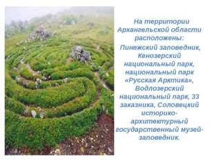 На территории Архангельской области расположены: Пинежский заповедник, Кеноз