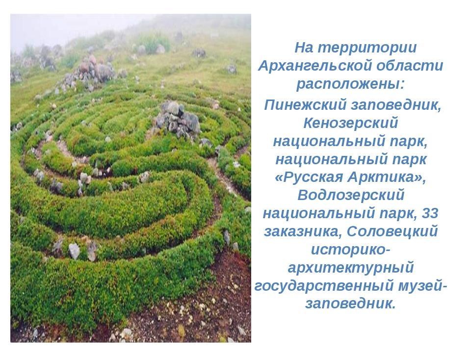 На территории Архангельской области расположены: Пинежский заповедник, Кеноз...