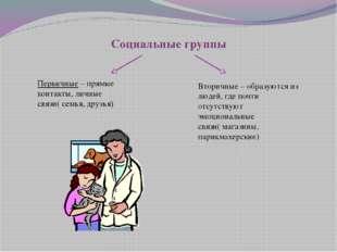 Социальные группы Первичные – прямые контакты, личные связи( семья, друзья) В