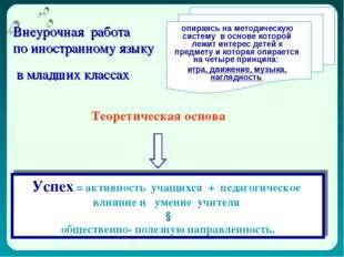 Внеурочная работа по иностранному языку в младших классах опираясь на методич