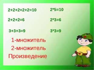 3*3=9 2+2+2+2+2=10 2+2+2=6 3+3+3=9 2*5=10 2*3=6 1-множитель 2-множитель Произ