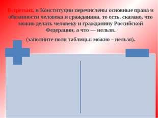 В-третьих, в Конституции перечислены основные права и обязанности человека и