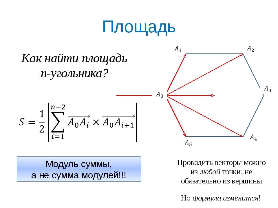 Площадь Как найти площадь n-угольника? Модуль суммы, а не сумма модулей!!! Пр...