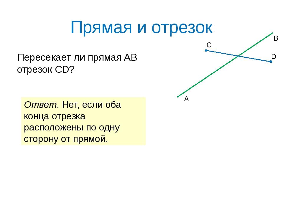 Прямая и отрезок Пересекает ли прямая AB отрезок CD? A B C D Ответ. Нет, если...