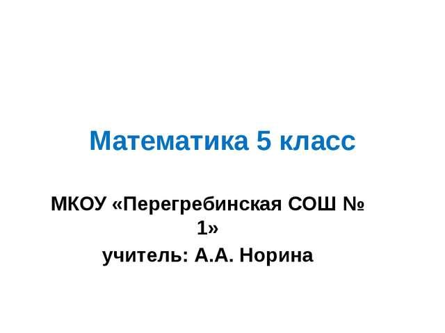 Математика 5 класс МКОУ «Перегребинская СОШ № 1» учитель: А.А. Норина