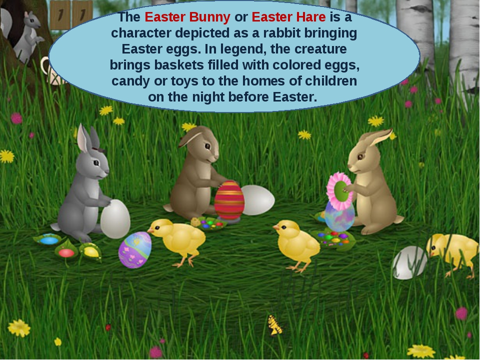 The Easter Bunny or Easter Hare is a character depicted as a rabbit bringing...
