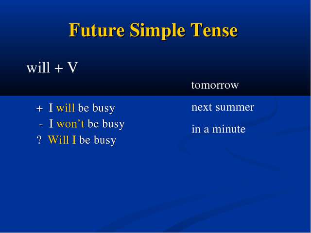 Future Simple Tense + I will be busy - I won't be busy ? Will I be busy tomor...