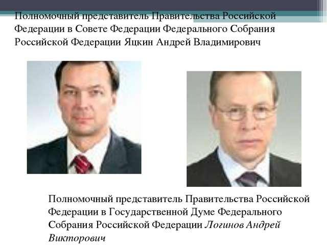 Полномочный представитель Правительства Российской Федерации в Совете Федерац...