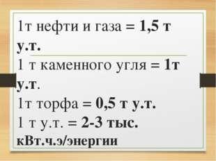 1т нефти и газа = 1,5 т у.т. 1 т каменного угля = 1т у.т. 1т торфа = 0,5 т у.