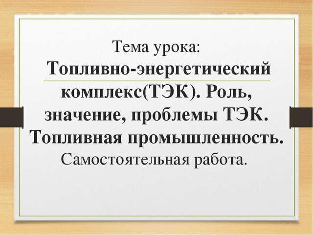 Тема урока: Топливно-энергетический комплекс(ТЭК). Роль, значение, проблемы Т...