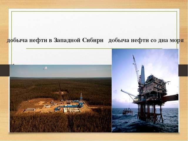 добыча нефти в Западной Сибири добыча нефти со дна моря