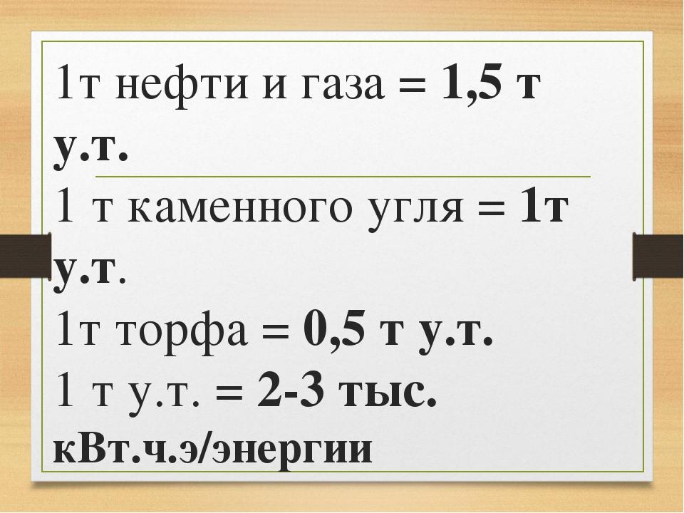 1т нефти и газа = 1,5 т у.т. 1 т каменного угля = 1т у.т. 1т торфа = 0,5 т у....