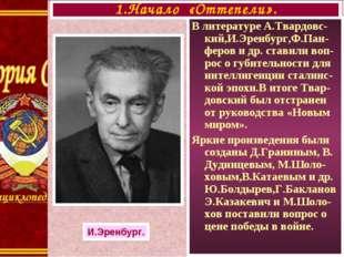 В литературе А.Твардовс-кий,И.Эренбург,Ф.Пан-феров и др. ставили воп-рос о гу