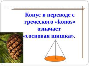 Конус в переводе с греческого «konos» означает «сосновая шишка». Историческая
