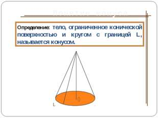 Понятие конуса Определение: тело, ограниченное конической поверхностью и круг