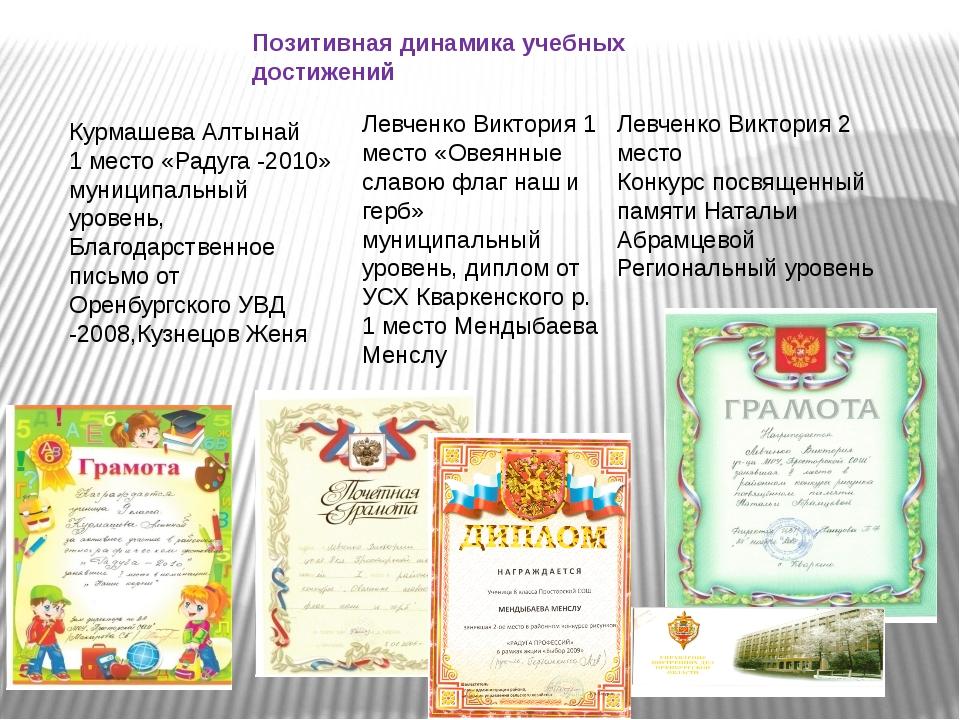 Позитивная динамика учебных достижений Курмашева Алтынай 1 место «Радуга -201...