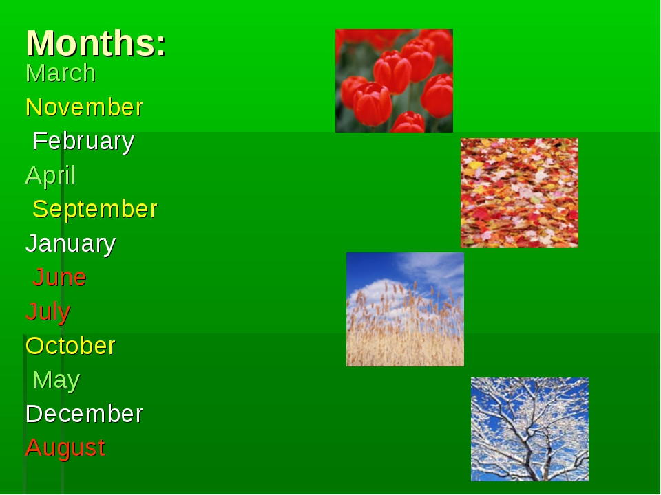 Months: March November February April September January June July October May...