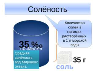 Солёность промилле 1 л 35 г соль Количество солей в граммах, растворённых в 1
