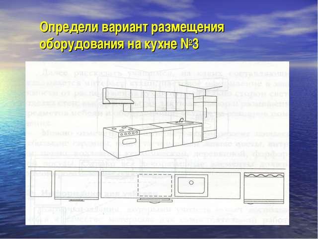 Определи вариант размещения оборудования на кухне №3