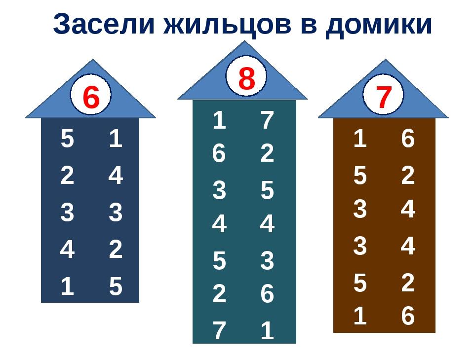 Засели жильцов в домики 1 2 3 4 5 6 7 1 2 3 4 8 5 6 7 1 2 3 4 5 6 5 4 3 2 1 3...