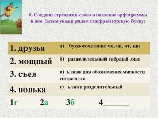 8. Соедини стрелками слово и название орфограммы в нем. Затем укажи рядом с ц