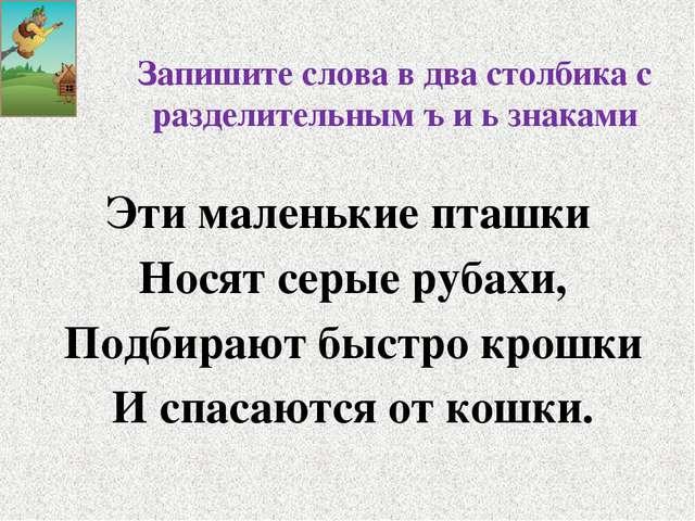 Запишите слова в два столбика с разделительным ъ и ь знаками Эти маленькие пт...