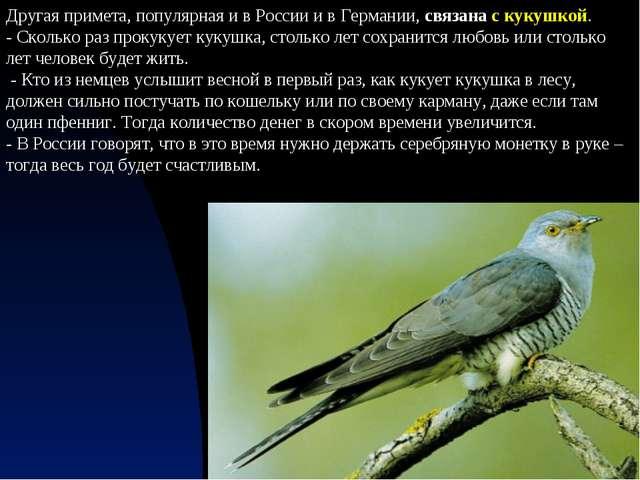 Другая примета, популярная и в России и в Германии, связана с кукушкой. - Ско...