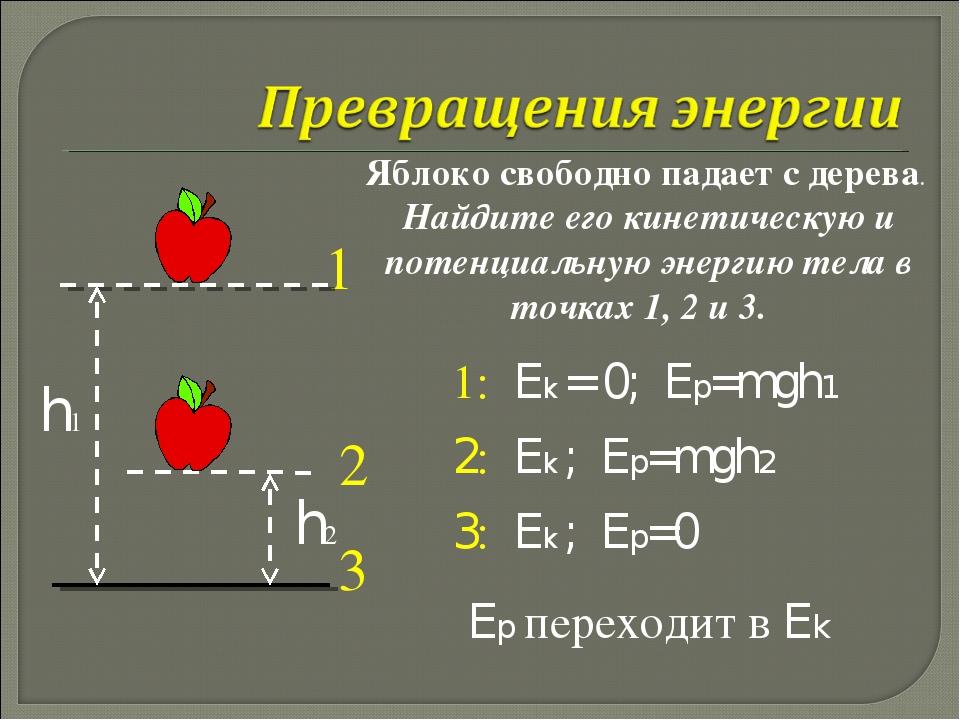 h2 Яблоко свободно падает с дерева. Найдите его кинетическую и потенциальную...