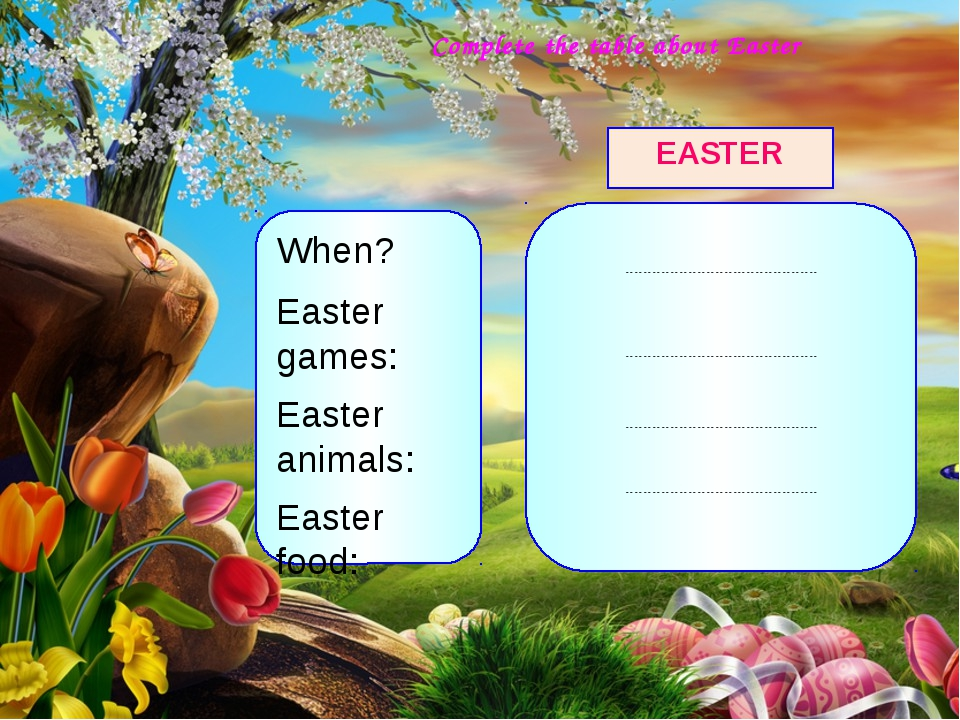 Complete the table about Easter When? Easter games: Easter animals: Easter f...
