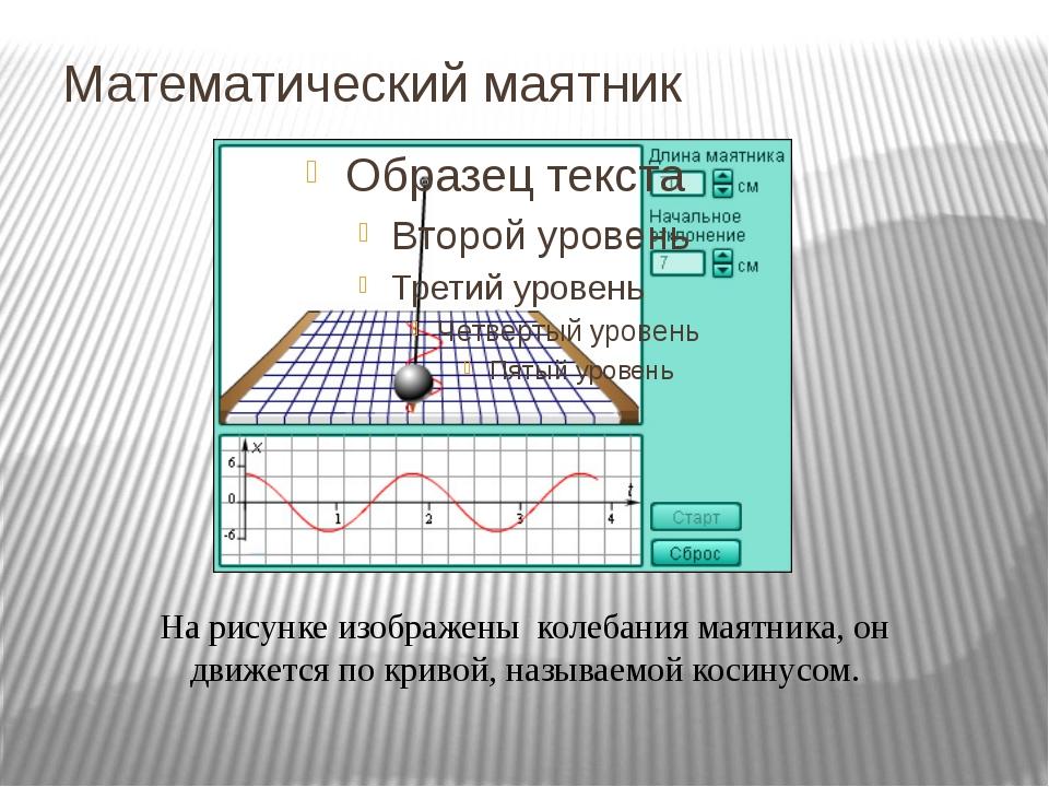 Математический маятник На рисунке изображены колебания маятника, он движется...