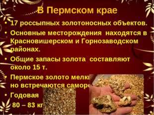 В Пермском крае 17 россыпных золотоносных объектов. Основные месторождения на