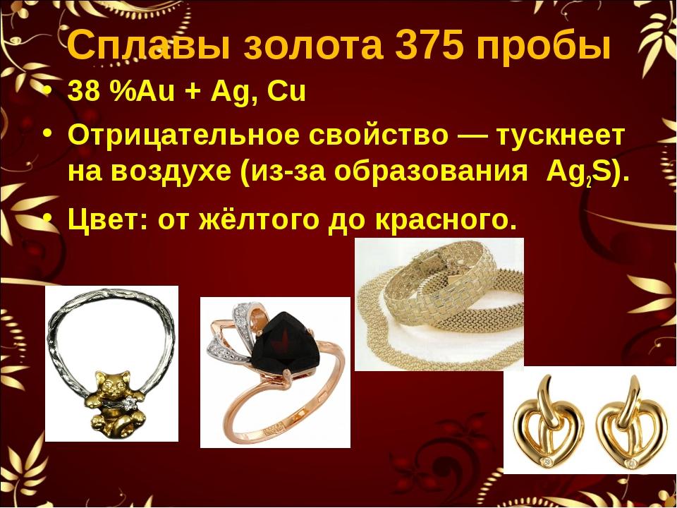 Сплавы золота 375 пробы 38%Au + Ag, Cu Отрицательное свойство— тускнеет на...