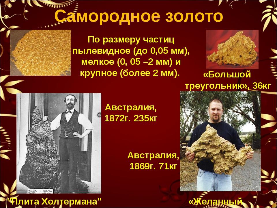 Самородное золото По размеру частиц пылевидное (до 0,05 мм), мелкое (0, 05 –2...