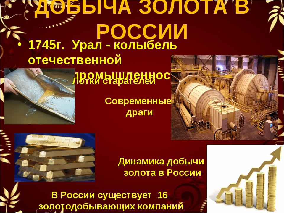 ДОБЫЧА ЗОЛОТА В РОССИИ 1745г. Урал - колыбель отечественной золотопромышленно...