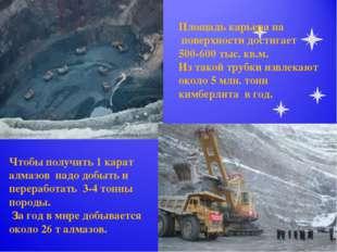 Площадь карьера на поверхности достигает 500-600 тыс. кв.м. Из такой трубки и