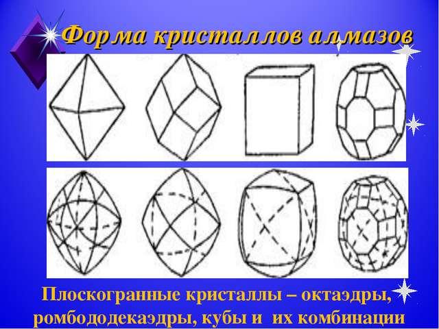 Форма кристаллов алмазов Плоскогранные кристаллы – октаэдры, ромбододекаэдры,...